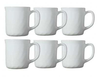 6x Arcoroc Kaffee-Tassen Tassen-Set Teetasse Kaffeebecher Tasse Bock-Becher weiß