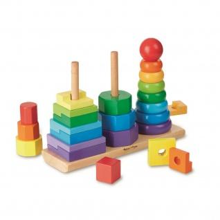 Geometrischer Stapler Melissa & Doug Holz-Spielzeug Bunt Lern-Spielzeug Motorik