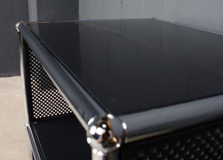 USM Haller Drucker-Tisch Roll-Container 2FA 50cm Breite gelochte Bleche schwarz