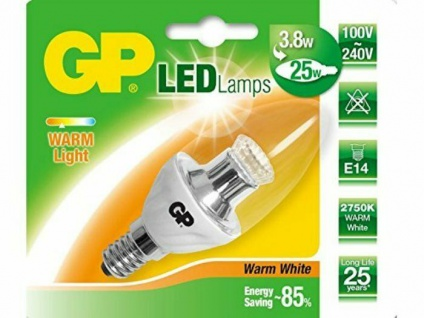 GP LED Kerze Klar E14 3, 2W / 25W Warmweiß Kerzen-Lampe Glüh-Birne Leuchtmittel