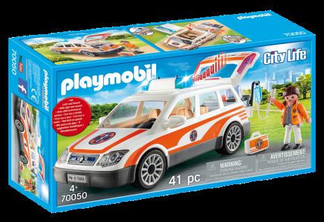 Playmobil City Life 70050 Notarzt-PKW mit Licht und Sound Rettungswagen Einsatz