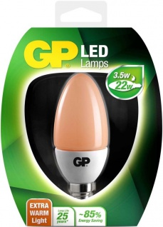 GP LED Kerze E14 3, 5W / 22W Extra Warmweiß 2200K Kerzen-Lampe Birne Leuchtmittel