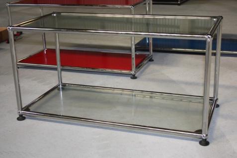 USM Haller Fach Regal Glas-Boden Vitrine Medienregal Beistell-Tisch TV-Board