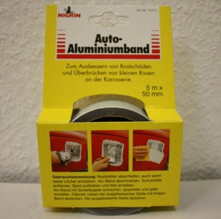 Nigrin Auto-Aluminiumband klebend 5m x 50 mm Spachtel PKW Oldtimer