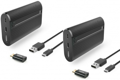 2x PACK Hama Powerbank Zusatz-Akku 7800mAh USB-C 3A Schnell-Ladegerät Batterie