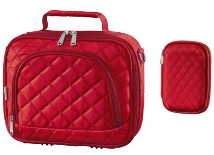 Bundle Hama Bahia HDD Tasche + Memory Card Case Etui Speicherkarten-Tasche rot