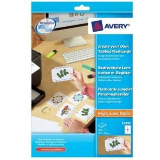Avery 100 Lern-Karten + Tab Ring A4 Drucker Kartei-Karten Lern-Zettel Uni Schule