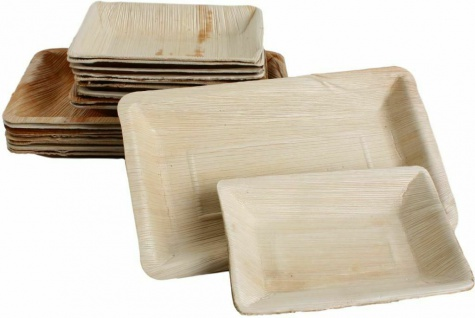 10x Palmblatt Einweg-Teller Party-Schalen rechteckig v. Größen Bio Eco-Geschirr