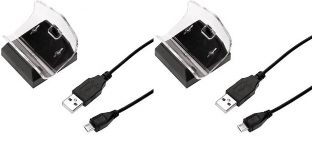 Hama 2x Pack USB Ladegerät Lade-Station Lader für Sony PS4 Controller Game-Pad