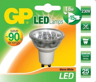 GP LED Strahler GU10 1, 6W/15W Reflektor Warmweiß 2950K Lampe Birne Leuchtmittel