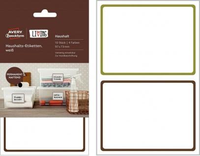 Avery 10 Haushaltsetiketten Küchen-Aufkleber Emblem Beschriftung Boxen-Etiketten