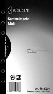 CHRONOPLAN 3x Sammel-Tasche Midi A6 Hülle Kalender-Einlage Filofax Time System