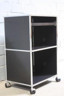 USM Haller Regal Roll-Container schwarz mit Tablar-Auszug Computer-Tisch Ablage