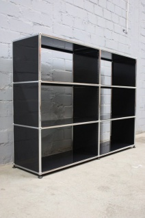 USM Haller 6 Fächer Sideboard Akten-Regal schwarz offen Bücherregal Büro Ablage