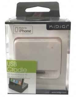 Kidigi USB Docking-Station Ladestation Halter Ständer MFi für Apple iPhone 4S 4