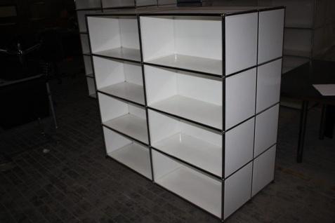 USM Haller Doppel-Regal als Raumteiler Sideboard für Akten Büro 16 Fächer weiß