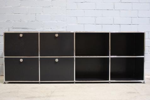 USM Haller Sideboard 200cm 8x 50er Fächer Regal 2 Klappen 2 Auszüge schwarz Top