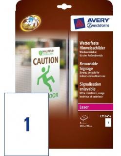 Avery 8x A4 Hinweis-Schilder Hinweis-Etiketten wetterfest Aukleber Beschriftung