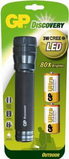 GP CREE 3W LED Taschenlampe Profi ALU HELL Lampe 2x D-Batterie Outdoor Camping
