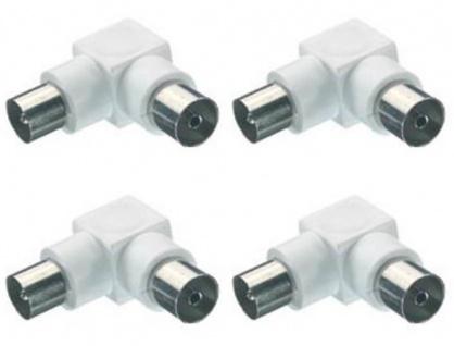 4x Vivanco Winkel Koaxial-Adapter Koax-Adapter Stecker - Buchse Antennen-Kabel