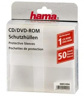 Hama 50x PP Kunststoff Schutz-Hüllen CD-Hüllen Sleeves CD DVD Blu-Ray CD-Tasche