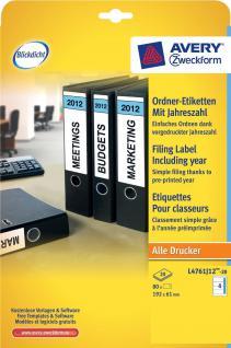 Avery Zweckform 80x Ordnerrücken A4 Breit 2012 Ordner-Etiketten Rückenschilder