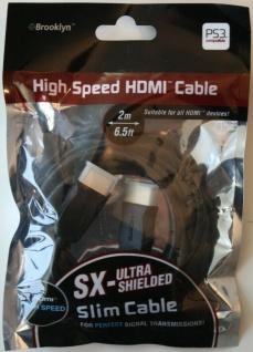 Brooklyn HQ 2m HDMI-Kabel SLIM 1.3c Full HD 1080p Stecker vergoldet für PS3 XBOX