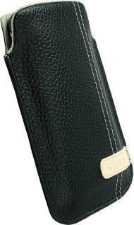 Krusell Gaia Mobile Pouch M black Leder-Tasche Etui Flap Bag Hülle
