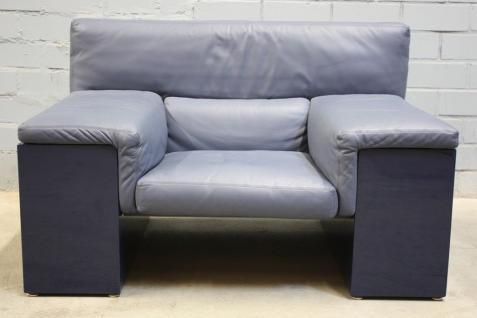 Knoll Brigadier by Cini Boeri Couch Sofa Blau Leder Design Büro Empfang