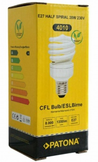 Patona Energiespar-Lampe E27 20W / 100W Spiral Warmweiß Glüh-Birne Leuchtmittel - Vorschau 2