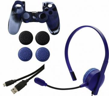 Hama 7in1 Controller Paket Headset Skin Cover Kappen USB-Ladekabel für Sony PS4