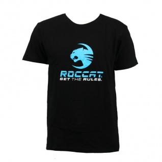 Roccat Gaming Baumwoll T-Shirt Slim Fan-Artikel Set the Rules Aufdruck Schwarz S