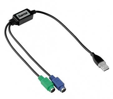 Hama USB auf 2x PS/2 Adapter Maus + Tastatur USB PS2 Konverter Kabel Adapter