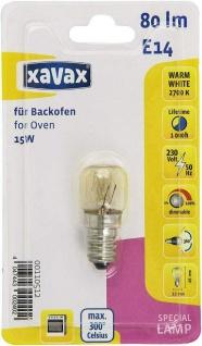 Xavax Spezial-Glühlampe für Backöfen Grillgeräte Dampfgargeräte 15W E14 bis 300°