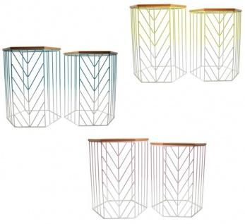 Design 2er Set Beistell-Tisch Farbverlauf Balkon-Tisch Terrasse Lounge Exotic