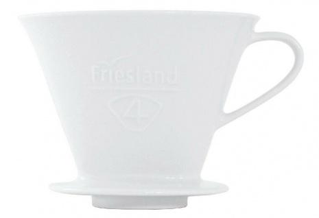 Friesland Kaffee-Filter aus Porzellan Keramik Aufsatz Dauerfilter 1-Loch Größe 4