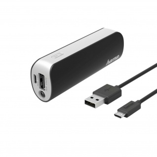 Hama Power Pack Pipe 2600mAh Powerbank LED-Licht Micro-USB Kabel Schnell Laden