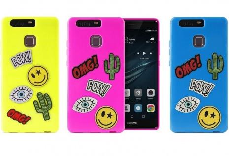 Puro TPU Cover Patch-Mania + 5 Aufkleber Sticker Schutz-Hülle Case für Huawei P9