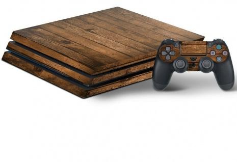 Design-Folie Skin Holz Gehäuse-Aufkleber Wrap für PS4 PRO Konsole 2x Controller