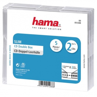 Hama 5x CD-Hüllen 2x CDs CD-ROM Slim Leer-Hülle DVD-Hüllen 5er Pack Jewel Case