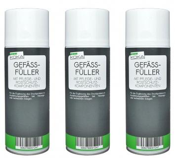 KOKA 3x Gefäßfüller Ausdehnungsgefäß Nachfüller Druck Spray 400 ml Set Heizung