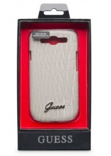 Guess Cover Croco Optik Tasche Schutz-Hülle Hard-Case für Samsung Galaxy S3 SIII