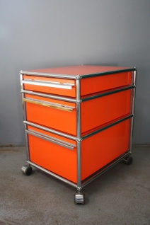 USM Haller Rollcontainer Container orange 3 Schubladen Ablage Regal Rollen