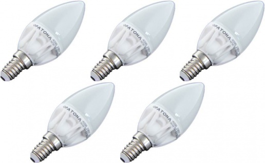Patona 5x LED Birne E14 5W/40W Kerze Warm-Weiß LED-Lampe Glühbirne Leuchtmittel