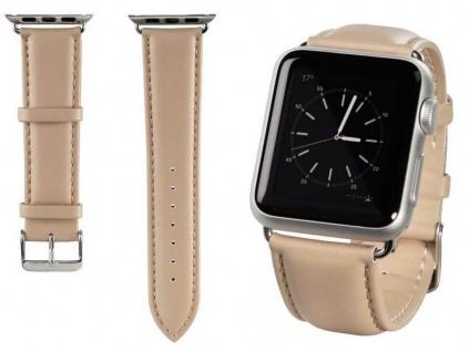 Hama Uhren-Armband Uhren-Band Classic Beige für Apple Watch iWatch 38mm 42mm