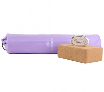 3-tlg Yoga-Probs Yoga-Matte + Kork-Klotz + Gurt Training für Yoga Iyengar Hatha
