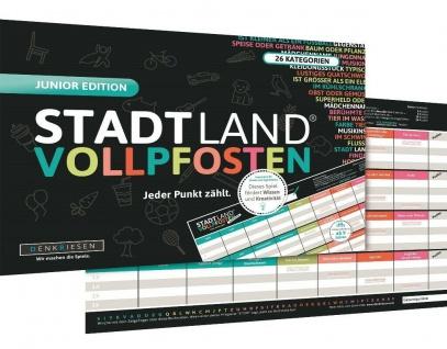 DENKRIESEN Stadt Land Vollpfosten Junior Edition Lern-Spiel Quiz-Spiel Kinder