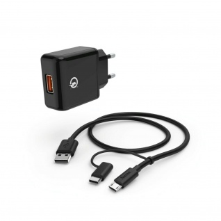 Hama Ladegerät Quick Charge Ladekabel Datenkabel Micro-USB USB-C für Handy