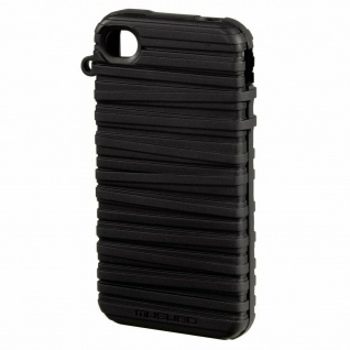 Musubo Rubber Band Handy Cover schwarz Case Hülle Stand für Apple iPhone 4S 4