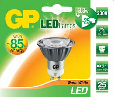 GP LED Strahler GU10 3, 3W/25W Warmweiß 2950K Lampe Glühbirne Leuchtmittel Birne